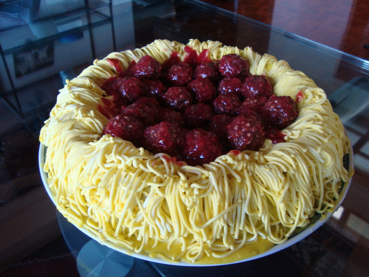 ... cake (under the icing spaghetti) is chocolate. [ via http