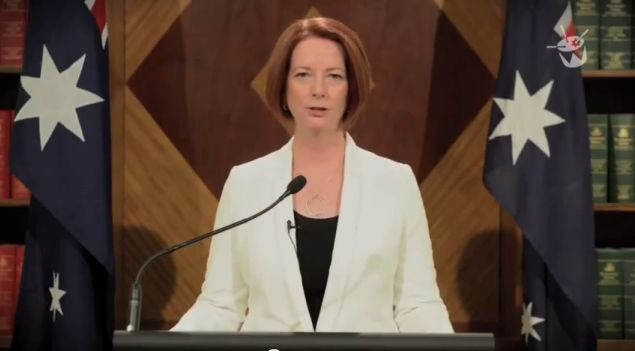 "Australian PM Julia Gillard says, ""It's all over now."" [click to play]"