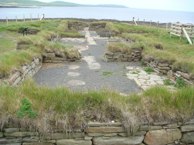 Excavated longhouse site at Quoygrew, Orkney. [photo: Donna Surge]