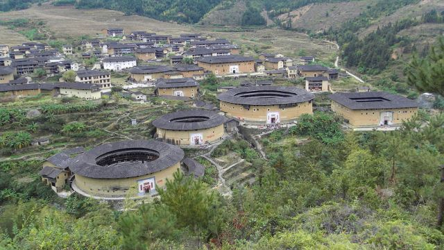 Chuxi tulou cluster. The largest building, called Juqinglou, was constructed in 1419.