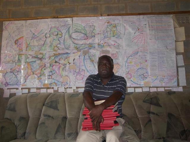 Sibusiso Mthembu in front of his map to Heaven.