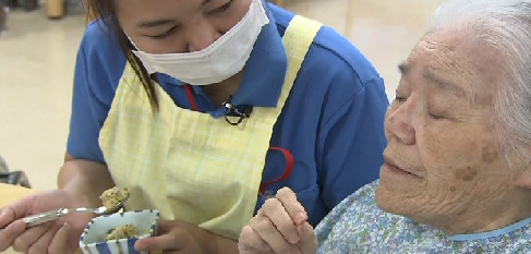 screen cap from a Japanese TV news program about foreign care workers [via japanprobe.com]