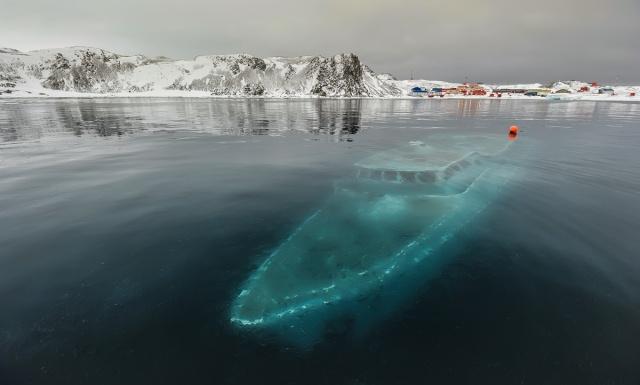 Sunken yacht off Antarctica.