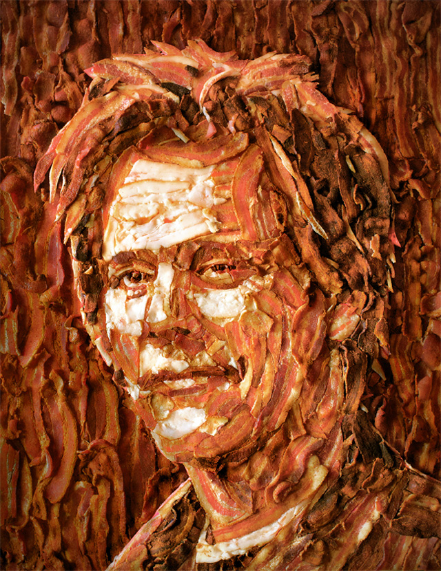 Bacon potrait of Kevin Bacon created by artist Jason Mecier. [via  LaughingSquid ]