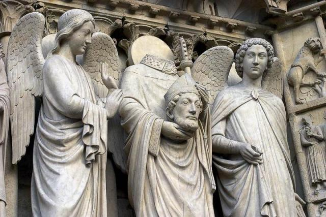 St.Denis relief on the Cathedral of Notre Dame