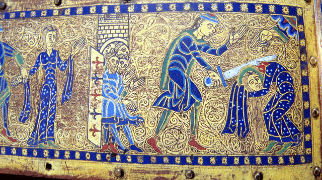 St. Valerie's martyrdom depicted on an enamelled reliquary from Limoges.
