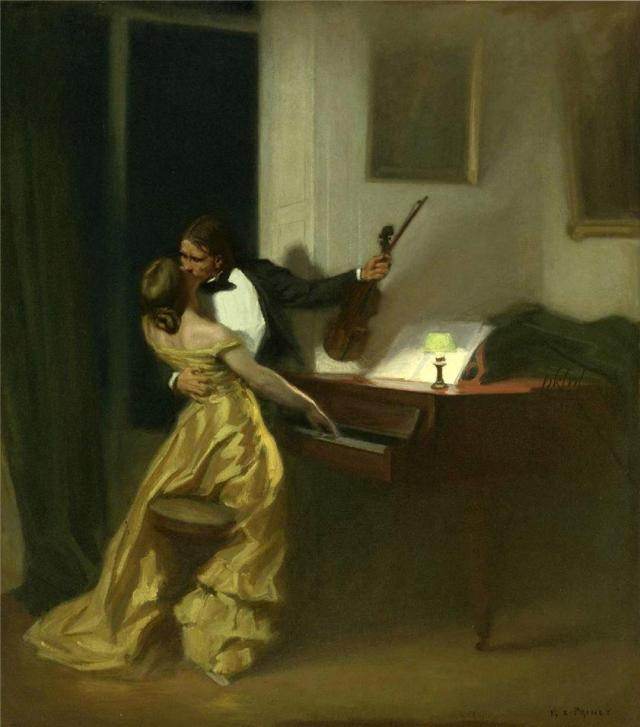 """The Kreutzer Sonata"", painting by Prinet, 1901, inspired by Tolstoy's work but illustrating something that never happens in the story -- except, perhaps, in one man's evered imagination. This painting was used in an advertisement for Tabu perfume and was well-known enough in the 1950s to be parodied in Mad."