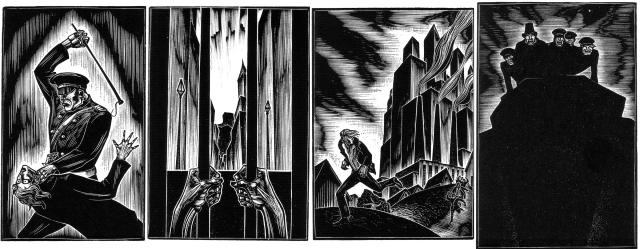 God's Man Arrest, Imprisonment, Escape, Pursuers gloat after the Artist falls from a cliff.