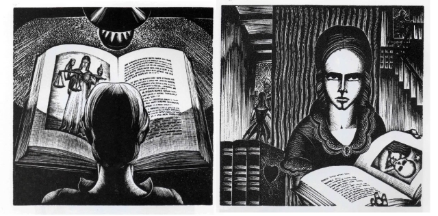Two poages from Madman's Drum. As I understand it, the woman is reading of Justice but sees that, applied to her family, Justice = Death.