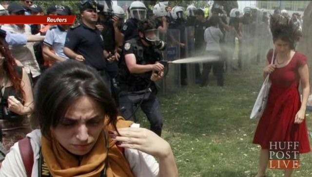 This woman being tear-gassed in Ankara's Gezi Park upset nice people around the world. [Reuters via Huffington Post]