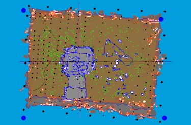 Srchaeological diagram showing how one island was constructed: basalt columns outlined in red, structures erected on the island in blue, finds of pottery in light green. [W.S.Ayres, U. of Oregon
