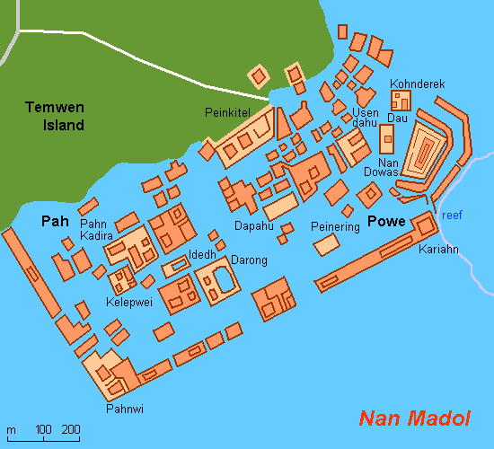 Map of the Nan Madol complex. [Wikimedia Commons]