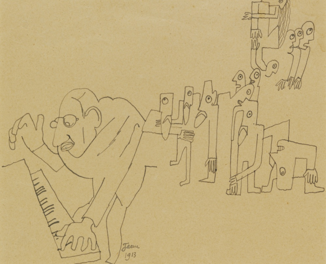 Stravinsky at the piano, drawing by Jean Cocteau