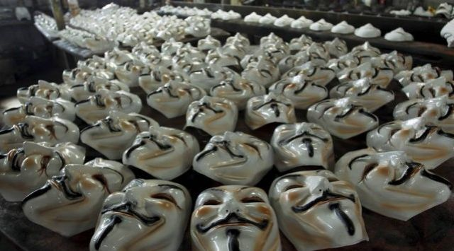Guy Fawkes masks at the Condal factory, Rio. [photo: Gabriel de Paiva]