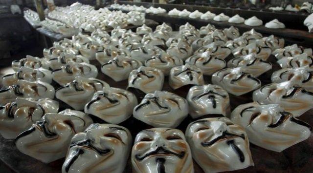 Guy Fawkes masks at the Condal factory, Rio. [photo: Gabriel de Paiva]