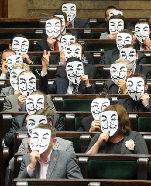 Polish legislators protesting the passage of anti-piracy legislation, 2012. [via Bleeding Cool]
