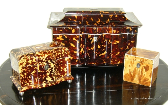 Antique boxes made of tortoiseshell. This was the item that Hart came to steal.