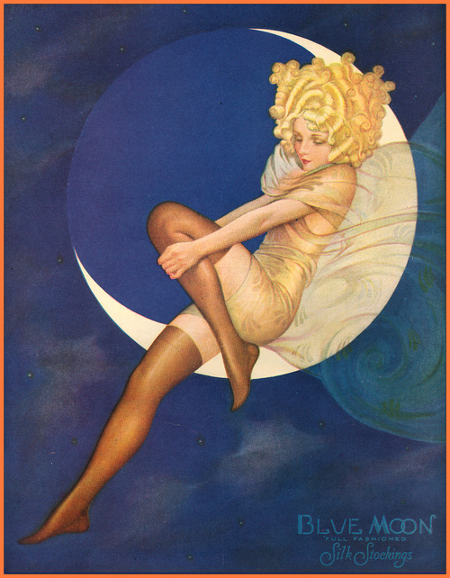 Box art for Blue Moon stockings, circa 1928.
