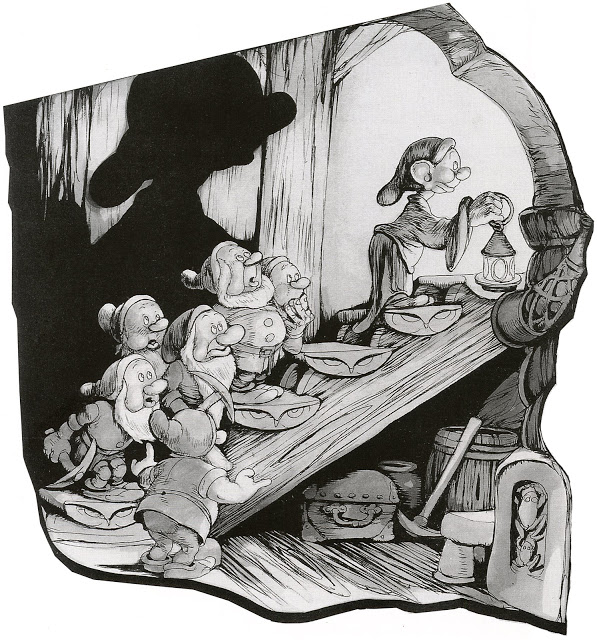 Pen rendering of the dwarves in their house, 1937
