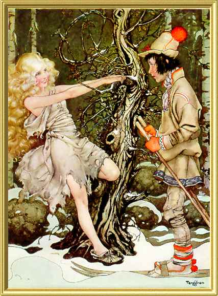 Illustration for Sven the Wise and Svea the Kind 1932. Note the Rackham tree.