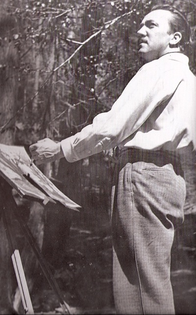 Tenggren painting at Yosemite,1939.