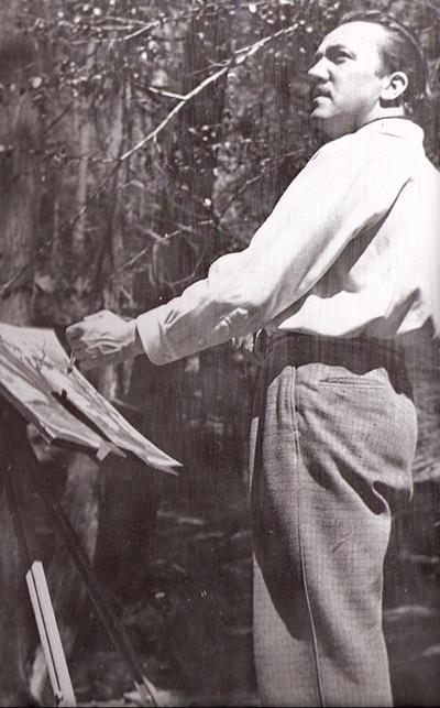 Tenggren painting at Yosemite,1939.