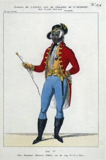 The actor LaFont costumed as Saint-George in an 1840 production. [Wikimedia Commons]
