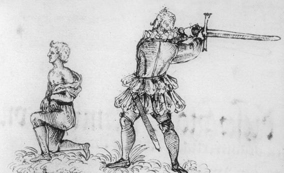 "The only known picture of Schmidt. ""Execution of Hans Fröschel, 1591"". This drawing was made in the marguns of a court record book. Note Schmidt's collar and curved moustache. [WikiMedia Commons]"