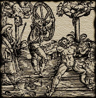 Execution by wheel. The man's limbs are being broken with heavy wheels. This is opposed to execution on a wheel, where the limbs were broken by a rod or weight after the victim was strapped to a wheel.