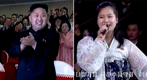 Kim Jong-un and Hyon Song-wal at an Unhasu Orchestra performance August 8. On August 17, Hyon was reported arrested.