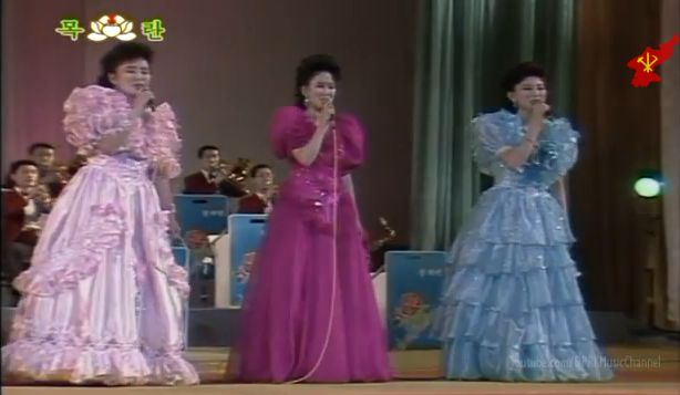 Wangjaeshan Light Music Band. Hyon is in purple dress.