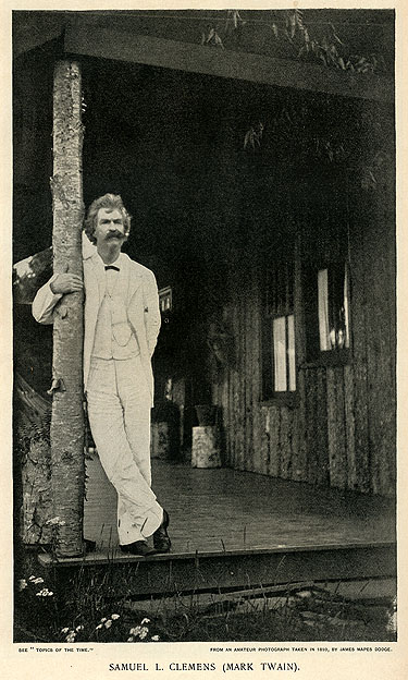 Mark Twain photo used in the first editions of Pudd'nhead Wilson [Twain Library, U. of Va.]