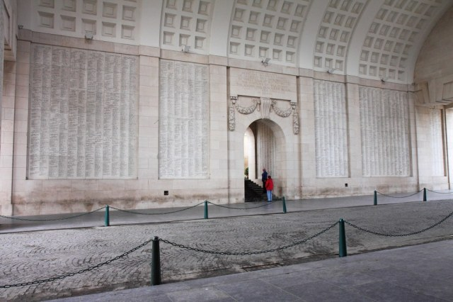 Inside the Menin Gate Memorial near Ypres.  The names of more than 54000 men whose bodies were never identified are carved on the wall. Tens of thousands whose remains are identified are buried in the surrounding cemeteries. Five battles were fought at the Ypres salient with over a million casualties.