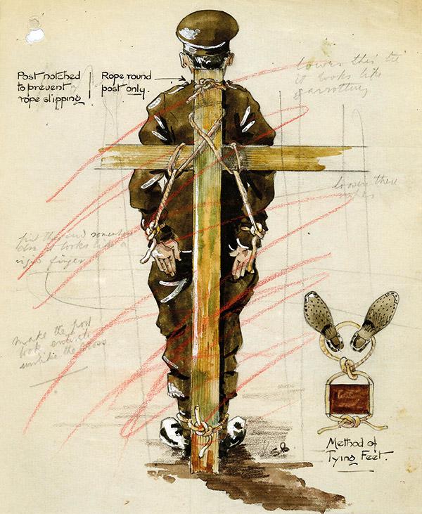 Field Punishment No. 1. British War Office contemporary illustration.