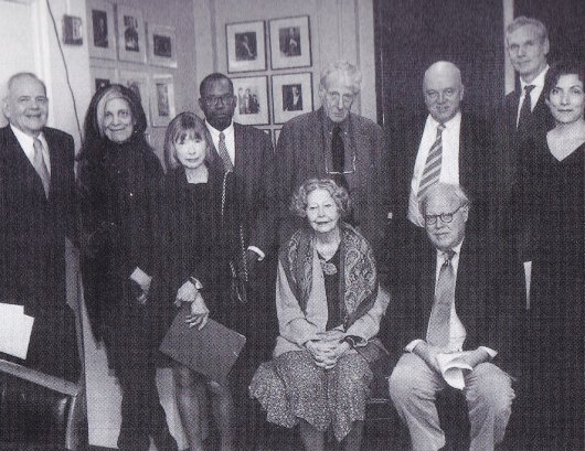 25th anniversary of the NYRB. Left to right, standing: Robert Silver, Susan Sontag, Joan Didion, Darryl Pinckney,Jonathan Miller, James Fenton, Rea Hederman, Alma Guillermoprieto; seated: Elizabeth Hardwick, Jason Epstein