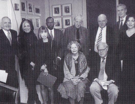 25th anniversary of the NYRB. Left to right, standing: Robert Silver, Susan Sontag, Joan Didion, Darryl Pinckney,Jonathan Miller, James Fenton, Rea Hederman, Alma Guillermoprieto; seated: Elizabeth Hardwick, Jason Epstein