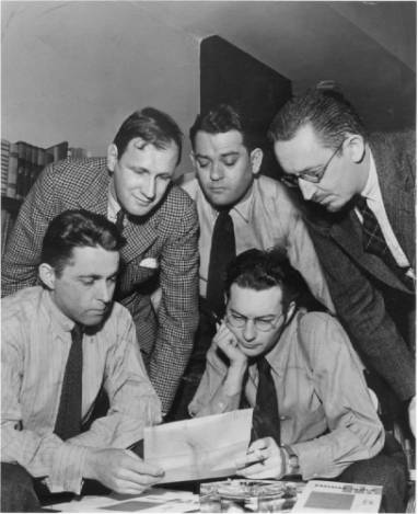 Staff of the  Partisan Review , 1938. Philip Rahv at top center, Dwight MacDonald at right.