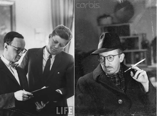 Arthur Schlesinger and Kennedy [Life Magazine], Dwight MacDonald [Corbis]