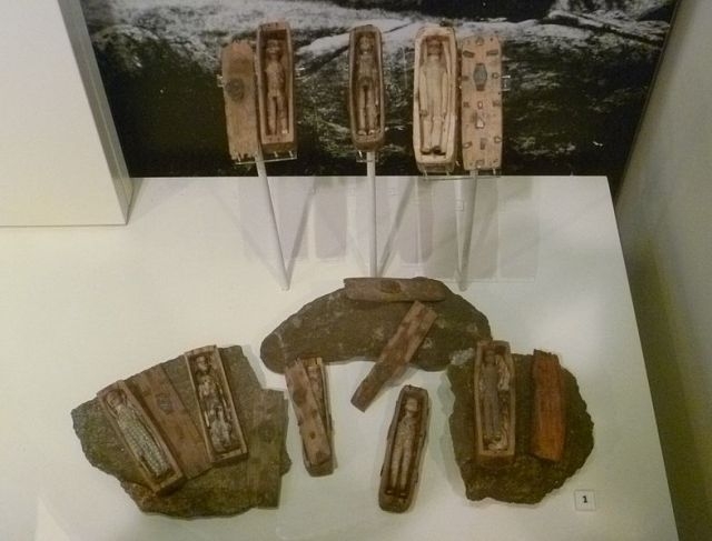 The eight coffins from Arthur's Seat. [National Museum of Scotland]