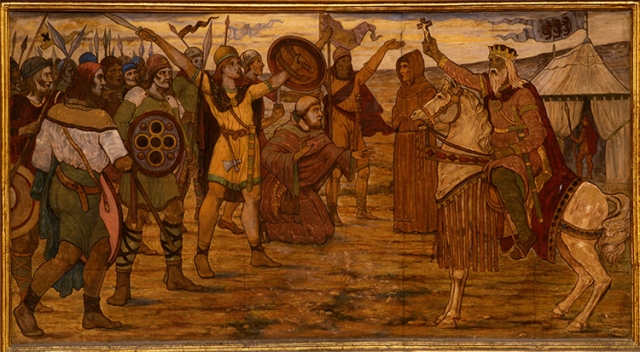 One of twelve murals done by James Ward for Dublin City Hall depicting Brian Bru and his triumphs. Here Brian readies for the battle of Clontarf.[http://www.brianborumillennium.ie/brian-boru/]