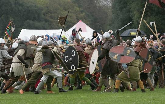 Re-enactment of the battle of Clontarf durinf the millenial celebration, April 2014. [Irish Independent]
