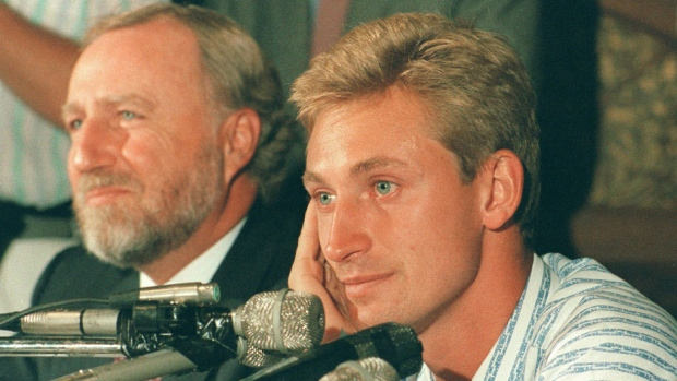 Pocklington and Gretzky. Does Wayne look happy? [Ray Giguere/Canadian Press]