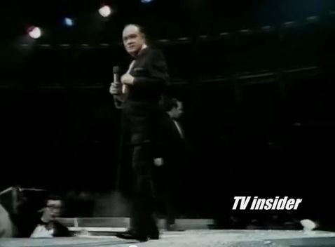 Bob Hope is flustered as flour bombs hit the stage. [YouTube: https://www.youtube.com/watch?v=reCX3_OAkv8]