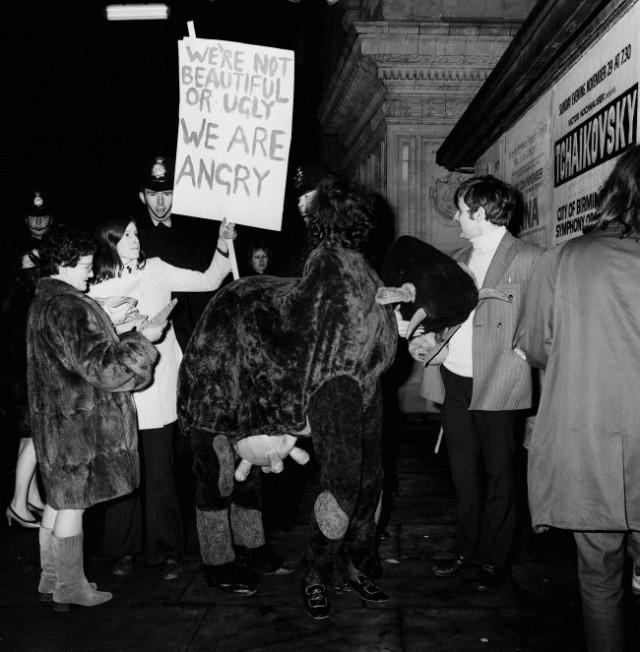 Protestors outside the Albert Hall.
