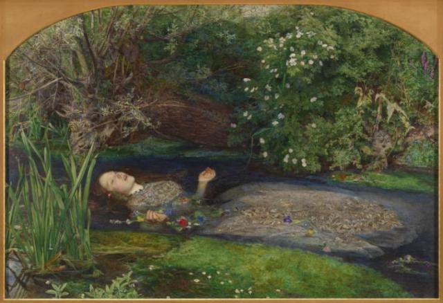 """""""Ophelia"""" by Millais. [ via tate.org.uk ] There with fantastic garlands did she come Of crow-flowers, nettles, daisies, and long purples That liberal shepherds give a grosser name, But our cold maids do dead men's fingers call them"""" Hamlet Act 4. The model was Elizabeth Siddal who later married Rossetti. After she died of a laudanum overdose, Rossetti buried his unpublished poems with. Later, he dug her up and retrieved the poems"""