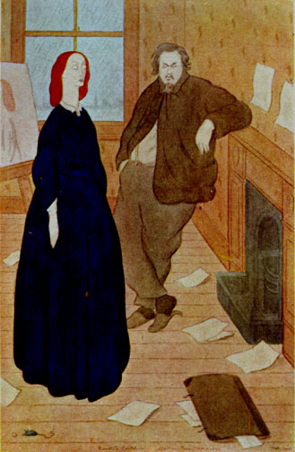 Rossetti courting Elizabeth Siddal from Rossetti and His Circle by Max Beerbohm [ Wikipedia ]