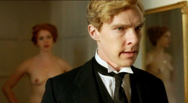"""No! I won't look! For gentlemanlyt reasons of my own, I will not be seduced by my wife!"" [via cumberbatchforum.tumblr.com]"