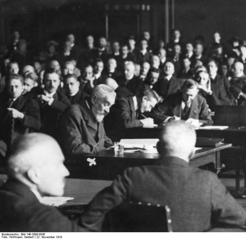 Bethmann-Hollweg at Versailles in 1919. He requested that the Allies try him for war crimes rather than the Kaiser. He died two years later. [bundesarchiv.de]
