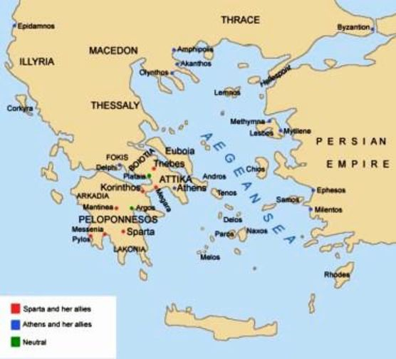 "A map. Argos is neutral sometimes, but allies with Athens before the battle at Mantinea. Pylos is the foothold in the Peloponnese won by Athens. Potidaea is top center, directly underneath the ""h"" of Olythe, halfway down the first of the threee penisulas that scraggle into the Aegean. [via http://www.shoretechnology.com/Oceanis46.htm]"