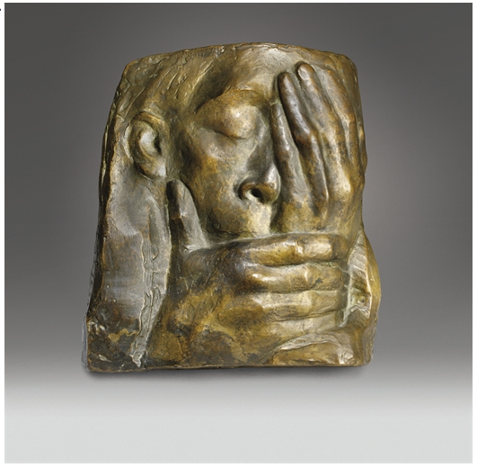 Die Klage: Memorial for Ernst Barlach by Kathe Kollwitz, 1938 Casting is about 27 X 25 cm. [via Christie's Auction House ]